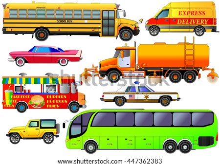 Vector set of various city urban traffic, isolated on white. Vehicles icons of modern tour bus, vintage car, post delivery van, school bus, SUV, cleaning truck, fast food van, police car. Flat style