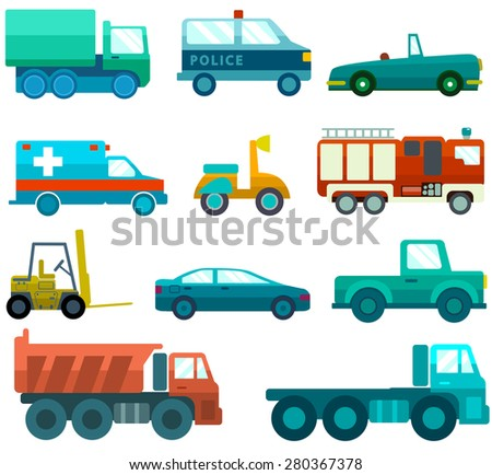 Vector set of various city urban traffic vehicles icons featuring old fashioned vintage car, hybrid car, cargo delivery van, ambulance. Side view, isolated. Vector flat illustrations - stock vector