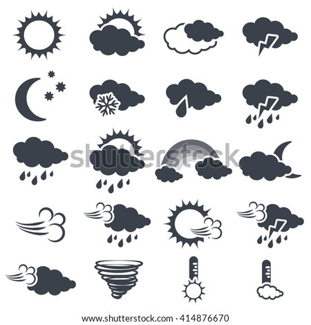 Vector set of various dark grey weather symbols, elements of forecast - icon of sun, cloud, rain, moon, snow, wind, whirlwind, rainbow, storm, tornado, thermometer