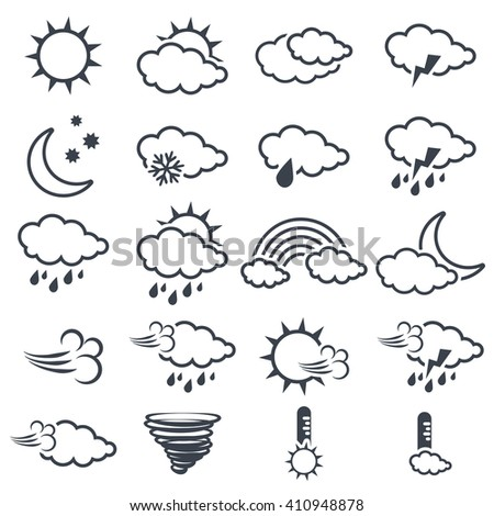 Vector set of various dark grey weather symbols, elements of forecast, line design - icon of sun, cloud, rain, moon, snow, wind, whirlwind, rainbow, storm, tornado, thermometer    - stock vector