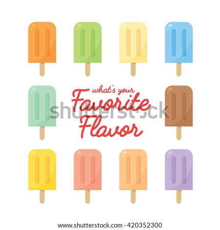 Vector set of various flavor popsicles isolated on white background.