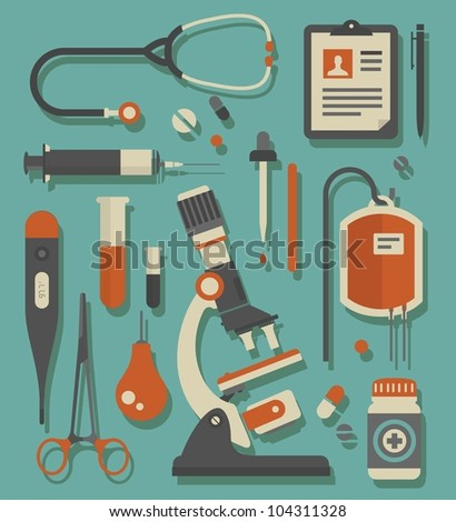 Vector set of various medical icons - stock vector