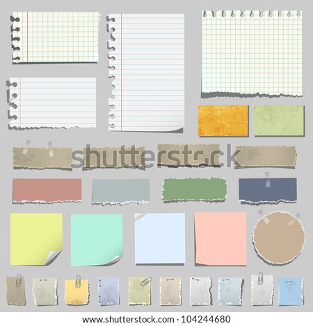 Vector set of various notes paper - stock vector