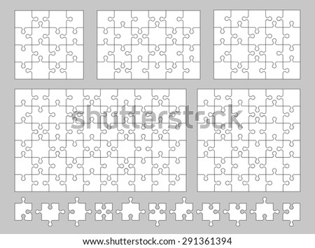 Vector set of various puzzles and jigsaw pieces. 16, 20, 24, 36 and 60 pieces. Vector illustration. - stock vector