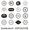 Vector set of various small business badges with floral laurels. Vintage Icons, logos for shop, product, salon, cafe, etc. Black and white. Isolated