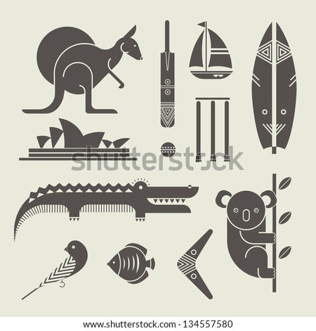 Vector set of various stylized australia icons - stock vector