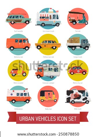 Vector set of various urban traffic and city cars round icons with ice cream truck, ambulance, tuk tuk, baby taxi, yellow cab, flatbed truck, cargo van, surf car, picnic retro car, milk truck and more - stock vector