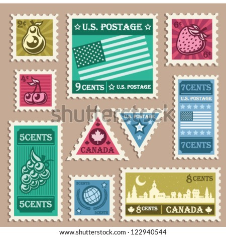 Vector set of various vintage stamp stickers. - stock vector