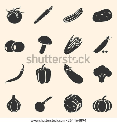Vector Set of Vegetables Icons. Tomato, Carrot, Cucumber, Potato, Olives, Mushroom, Corn, Peas, Chili Peper, Paprika, Eggplant, Brocolli, Cauliflower, Garlic, Onion, Cabbage, Pumpkin.