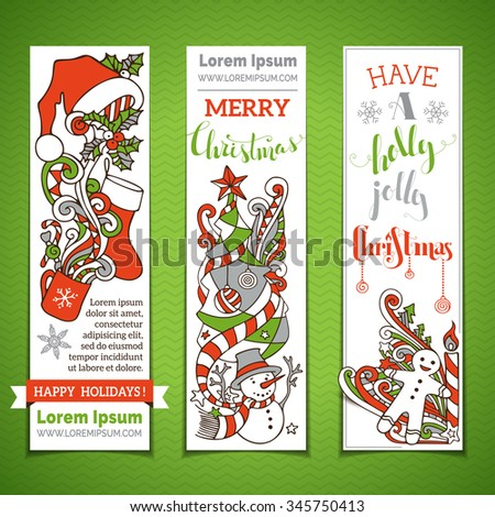Vector set of vertical cartoon Christmas banners. Christmas tree and baubles, Santa sock and hat, holly berries, snowman, snowflakes, swirls, candy cane and sweets, stars and hand-written text.