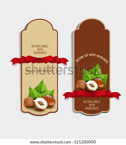Vector set of vertical labels with hazelnuts and red ribbon (design element) - stock vector