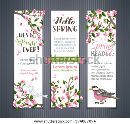 Vector set of vertical spring banners. Pink cherry blossoms, leaves and birds on tree branches. Hello spring! It's spring time. There is place for your text on white background. - stock vector