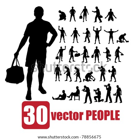 Vector set of 30 very detailed men silhouettes - stock vector