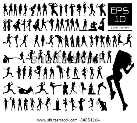 Vector set of 100 very detailed sport women silhouettes