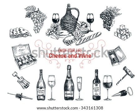 Vector set of vine and cheese elements. Vector illustration in sketch style. Hand drawn design elements.  - stock vector