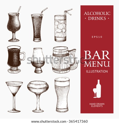 Vector set of vintage alcoholic drinks sketch. Ink hand drawn beverage illustrations for bar or restaurant menu isolated on white background. - stock vector