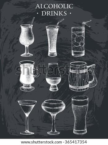 Vector set of vintage alcoholic drinks sketch. Ink hand drawn beverages illustrations for bar or restaurant menu isolated on chalkboard. - stock vector