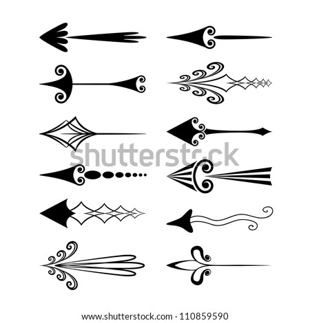 Vector set of vintage arrows - stock vector