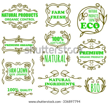 Vector set of vintage badges and monogram for eco products - stock vector