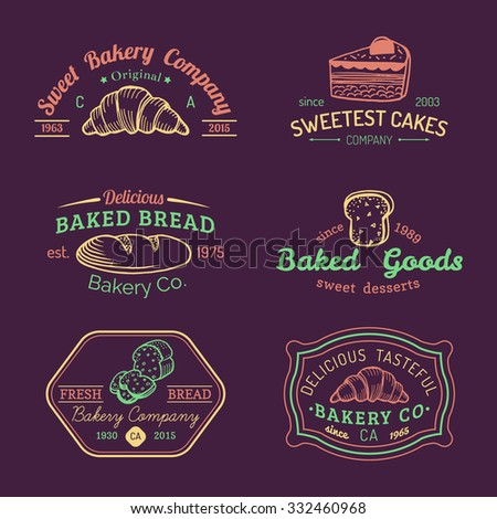 Vector set of vintage bakery logo. Retro logotypes collection with sweet cookie, biscuit elements. Hipster pastry icons. - stock vector