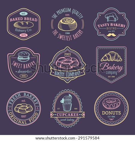 Vector set of vintage bakery logos. Retro emblems collection with sweet cookie, biscuit elements. Hipster pastry icons.  - stock vector