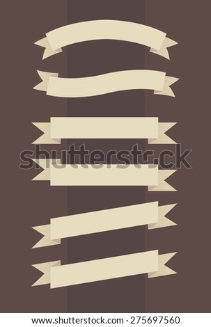 Vector set of vintage banners in engraved style on brown background  - stock vector