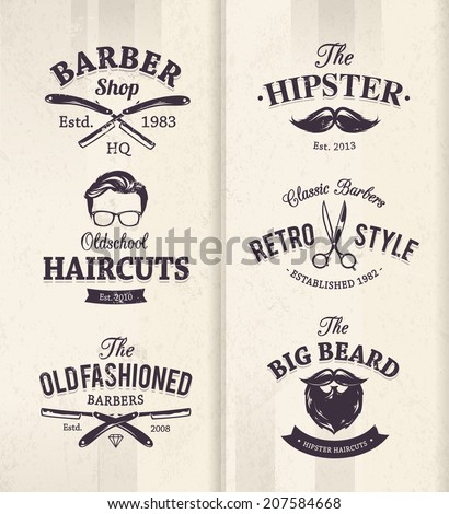Vector set of vintage barber shop emblems. - stock vector