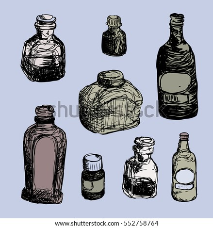 Vector set of vintage bottles