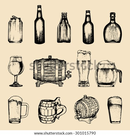 Vector set of vintage brewery elements. Retro collection with beer icons or signs. Lager, ale hand drawn symbols. Barrels, bottles, glasses, mugs, can sketched illustrations - stock vector