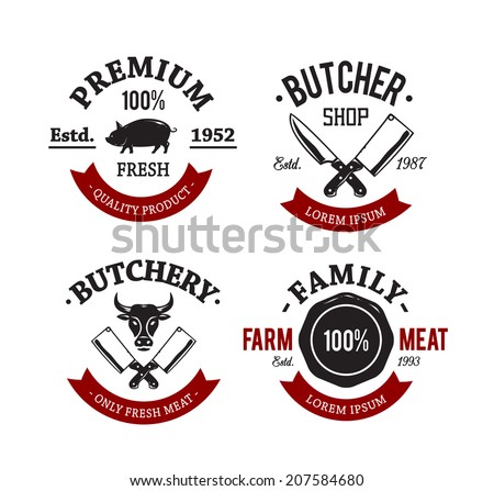 Vector set of vintage butchery meat shop emblems. - stock vector