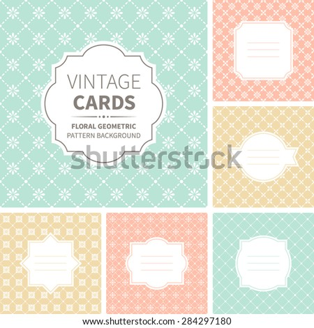 Vector set of vintage cards. Design templates with geometric badges and labels on floral ornate backgrounds. Abstract seamless pattern.