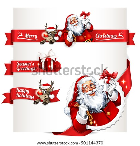 Vector Set Of Vintage Christmas Labels Badges And Banners With Santa Claus Present