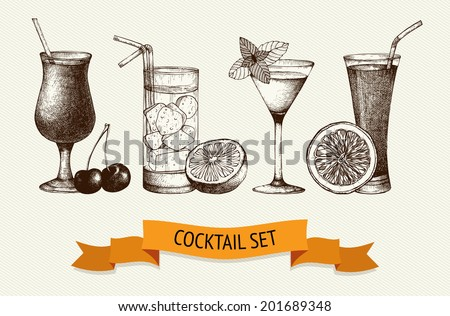 Vector set of vintage cocktails with berries and fruits. Ink hand drawn cocktail illustrations - stock vector