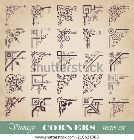 Vector set of vintage corners - stock vector