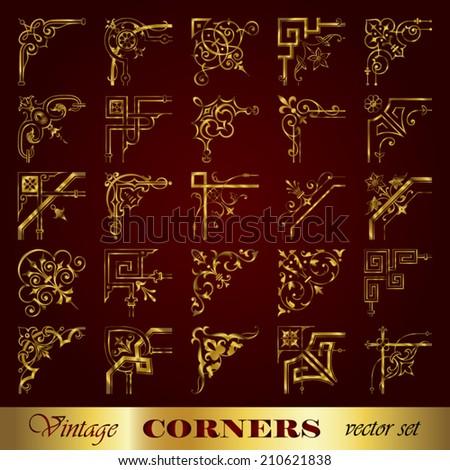 Vector set of vintage corners in gold - stock vector