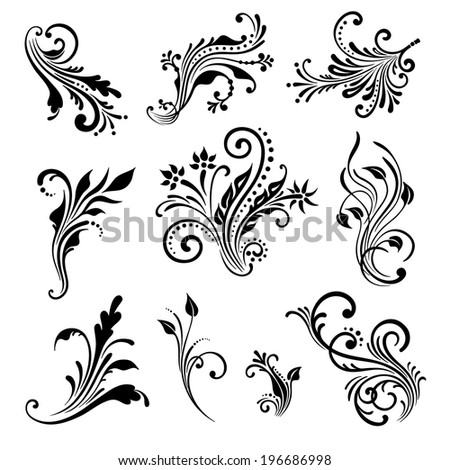 Vector set of vintage decorative elements for design, print, embroidery. - stock vector