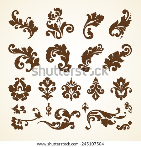 Vector set of vintage decorative ornamental page decoration calligraphic design elements for invitation, congratulations and greeting card - stock vector