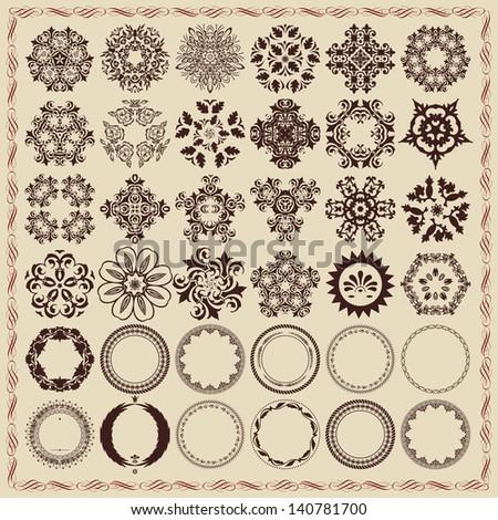 Vector set of vintage design elements and frames. - stock vector