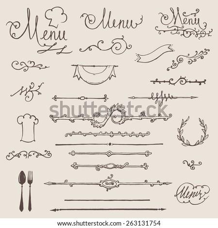 Vector set of vintage design elements and page decoration for restaurant menu design - stock vector