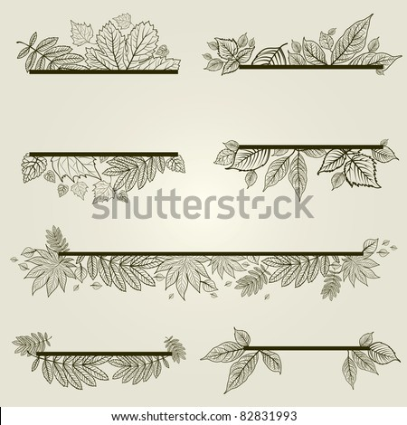 """Vector set of vintage design elements with leafs (from my big """"Floral collection"""") - stock vector"""
