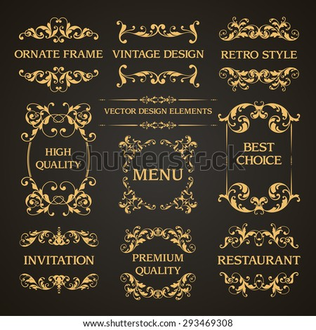 Vector set of vintage elegant decorative ornamental page decoration frames borders calligraphic design elements for invitation, congratulation, greeting card, menu, certificate - stock vector