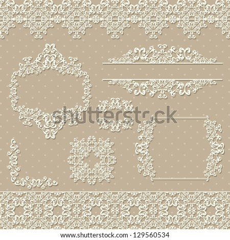 Vector set of vintage elements and frames - stock vector