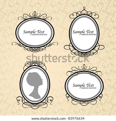 Vector set of vintage framed ornate labels for design - stock vector
