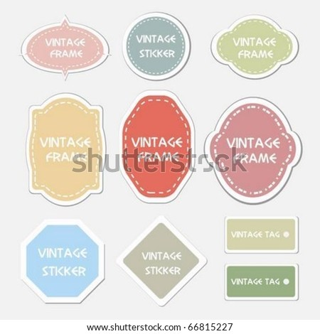 Vector set of vintage frames,labels and tags