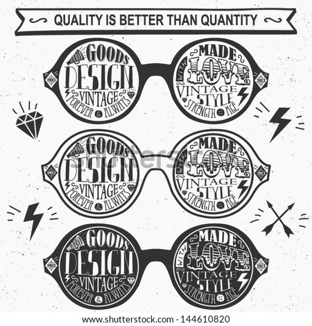 Vector set of vintage glasses. Labels and Icons.  - stock vector