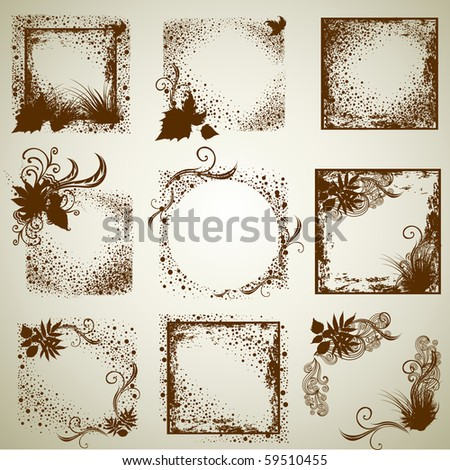 """Vector set of vintage grunge frames with Autumn Leafs. Thanksgiving (from my big """"Natural collection"""") - stock vector"""