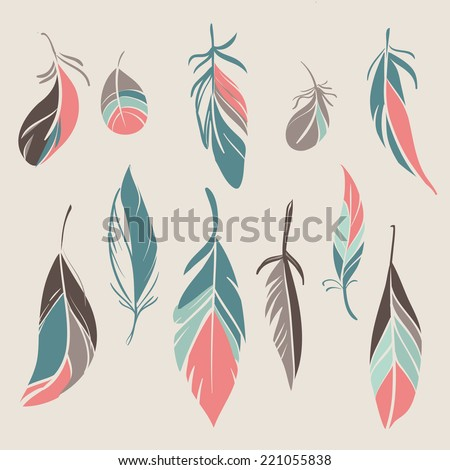 Vector set of vintage hand drawn feathers  - stock vector