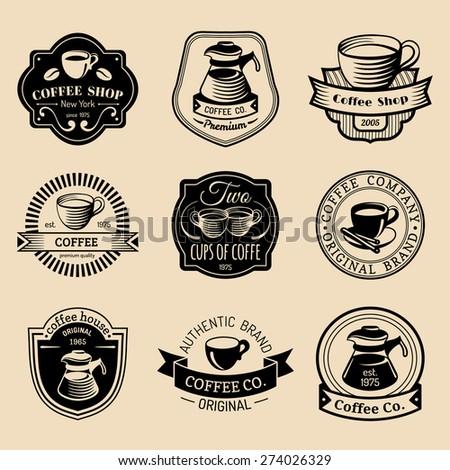 vector set vintage hipster coffee logos stock vector