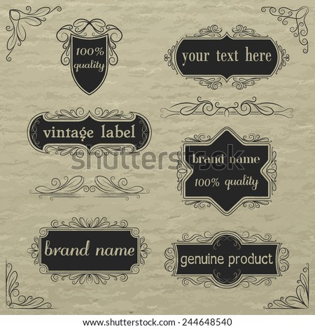 Vector set of vintage labels and elements. - stock vector