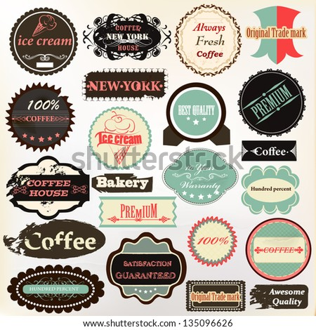 Vector set vintage labels cafe coffee stock vector for Classic house labels